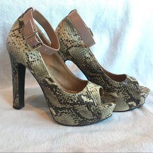 Quipid Snake Print Peep Toe Heels